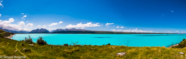 Simon Bourne, photography, photographer, north London, portfolio, image, spring, landscape, Nikon, Lake Pukaki, South Island, New Zealand, Aotearoa, lake, glacial, snow, mountains, Mount Cook, Tasman River, aquamarine blue, green