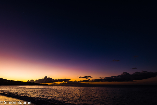 Simon Bourne, photography, photographer, north London, portfolio, image, winter, landscape, seascape, Nikon, Grand Anse Beach, St George's, Grenada, Caribbean Sea, tropical island, dusk, sunset, surf, waves, orange sky, red, new moon, crescent, Venus