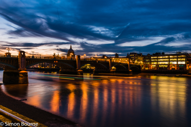 Simon Bourne, photography, photographer, London, portfolio, image, central London, River Thames, Southwark Bridge, St Paul's Cathedral, buses, boats, dusk, sunset, night, long exposure, landscape, reflection, Nikon, lights, traffic trails