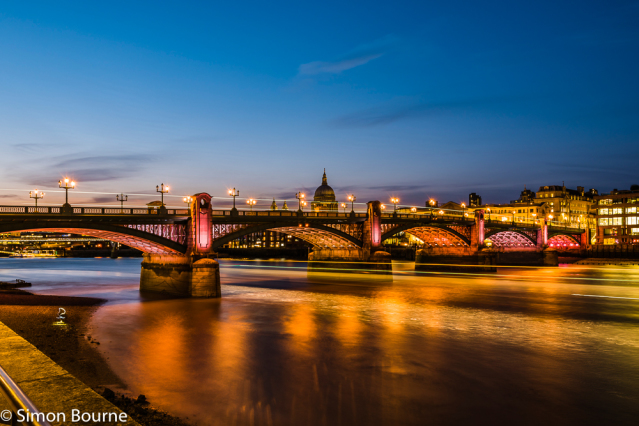 Simon Bourne, photography, photographer, London, portfolio, image, central London, River Thames, Southwark Bridge, St Paul's Cathedral, buses, boats, dusk, sunset, night, long exposure, landscape, reflection, Nikon, lights, traffic trails, red light, ship
