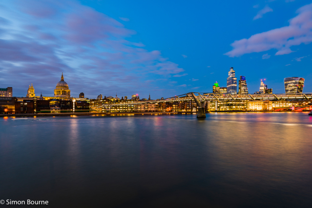 Simon Bourne, photography, photographer, north London, portfolio, image, landscape, structure, bridge, River Thames, river, dusk, sunset, Nikon, Millennium Bridge, long exposure, St Paul's Cathedral, boat trails, lights, night