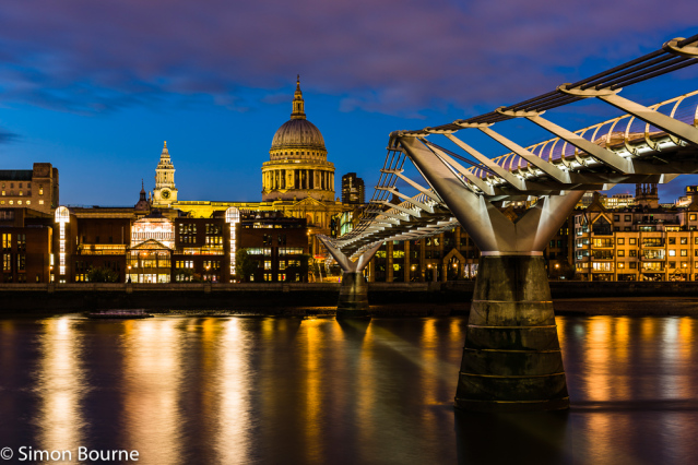 Simon Bourne, photography, photographer, north London, portfolio, image, landscape, structure, bridge, River Thames, river, dusk, sunset, Nikon, Millennium Bridge, long exposure, St Paul's Cathedral, lights, reflections, night