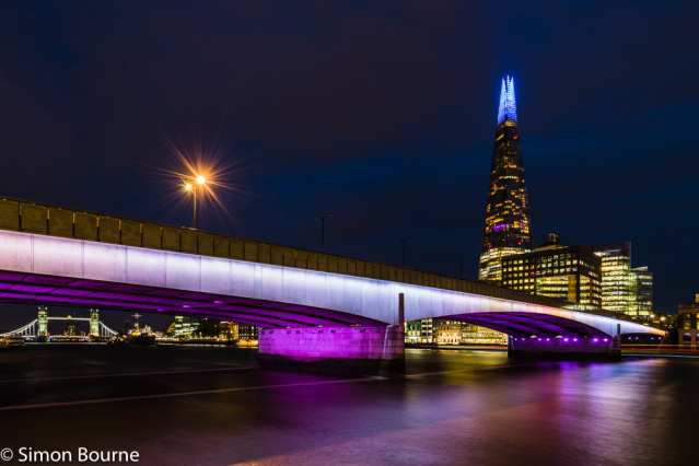 Simon Bourne, photography, photographer, London, portfolio, image, central London, River Thames, London Bridge, The Shard, boats, Tower Bridge, dusk, sunset, night, long exposure, landscape, reflection, Nikon, lights, traffic trails, purple and white ligh