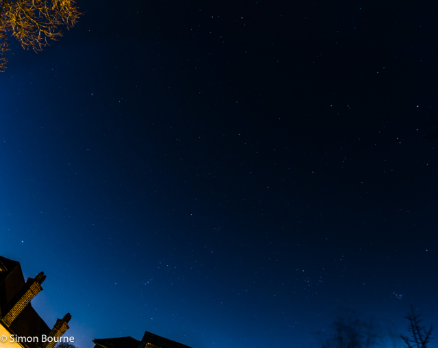 Simon Bourne, photography, photographer, north London, portfolio, image, winter hexagon, night sky, stars, winter circle, Sirius, Rigel, Aldebaran, Capella, Castor & Pollux, Procyon, Orion's Belt, Orion, constellations