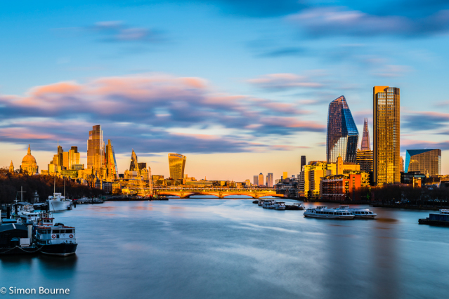 Simon Bourne, photography, photographer, north London, portfolio, image, landscape, structure, River Thames, river, dusk, sunset, Nikon, Blackfriars Bridge, St Paul's Cathedral, The Shard, boats, spring evening, sunlight, orange glow