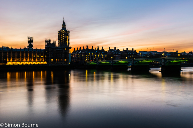 Simon Bourne, photography, photographer, north London, portfolio, image, central London, Westminster, Houses of Parliament, Big Ben, River Thames, Westminster Bridge, orange skies, glow, dusk, green lights, sunset, long exposure, landscape, reflections