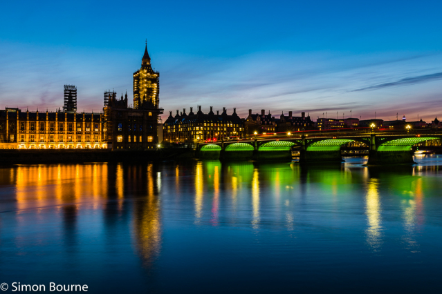 Simon Bourne, photography, photographer, north London, portfolio, image, central London, Westminster, Houses of Parliament, Big Ben, River Thames, Westminster Bridge, red buses, dusk, green lights, night, long exposure, landscape, reflections
