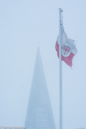 Simon Bourne, photography, photographer, north London, portfolio, image, landscape, snow, ski, alps, flag, Nikon, Kuhtai, Austria