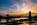 Simon Bourne, photography, photographer, north London, portfolio, image, central London, River Thames, Hammersmith Bridge, sunset, dusk, night, lights, Nikon, orange sky, blue skies, suspension, cables, clouds, reflections, hangers, Victorian